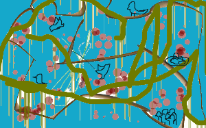 Birds on chinese tree by LunaRedwing