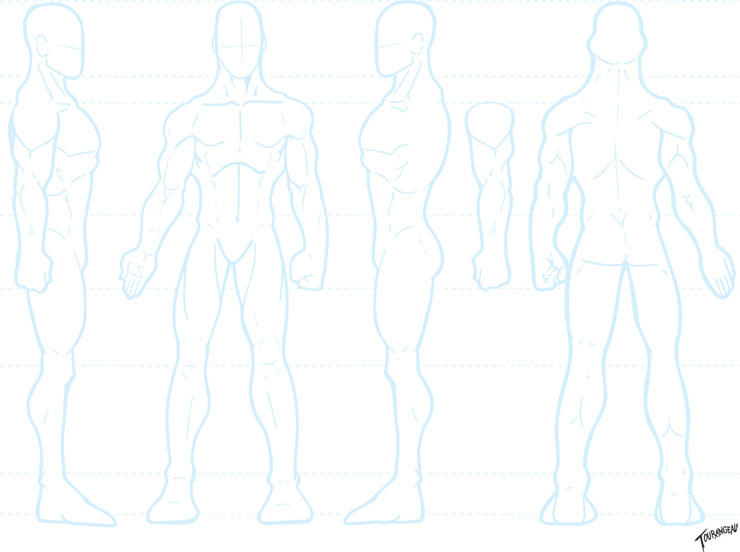 Blank male turnround template by stourangeau on deviantart for Manga character template
