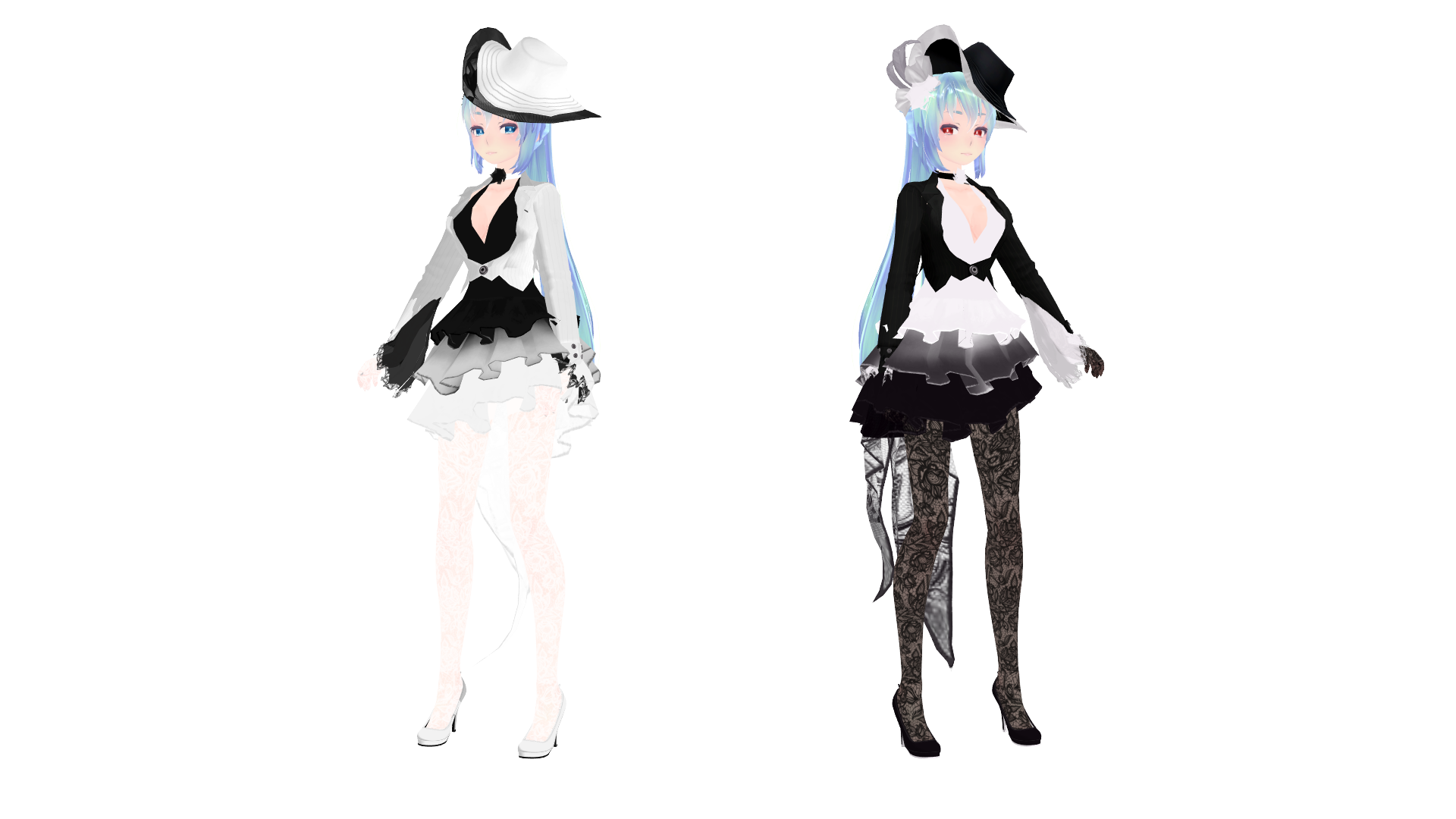 Mmd Model Dl Tda White And Black Rose Miku By Mizukinoru1310 On Deviantart
