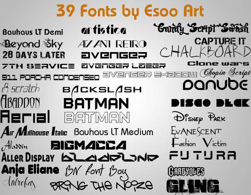 39 fonts collected by Esso ART