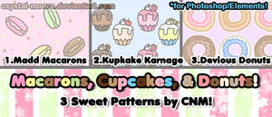 Macarons, Cupcakes, and Donuts Patterns by CNM