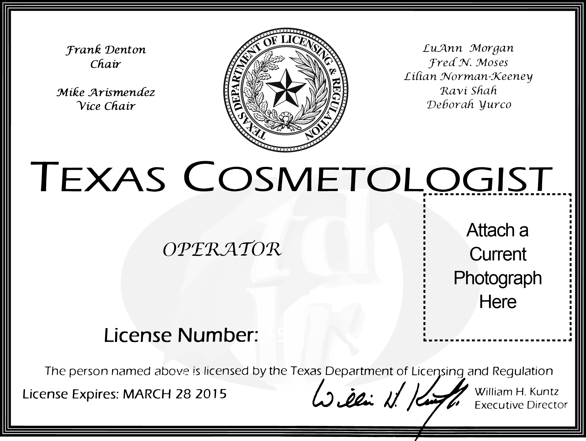 Texas Cosmetologist License by SoulComplex on DeviantArt