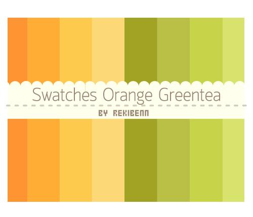 Swatches Orange Greentea by TheSeekerReki
