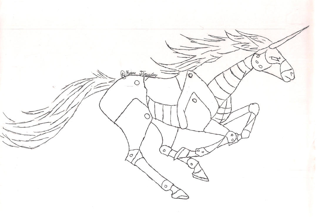 Line Art Unicorn : Robot unicorn line art by kdougfang on deviantart
