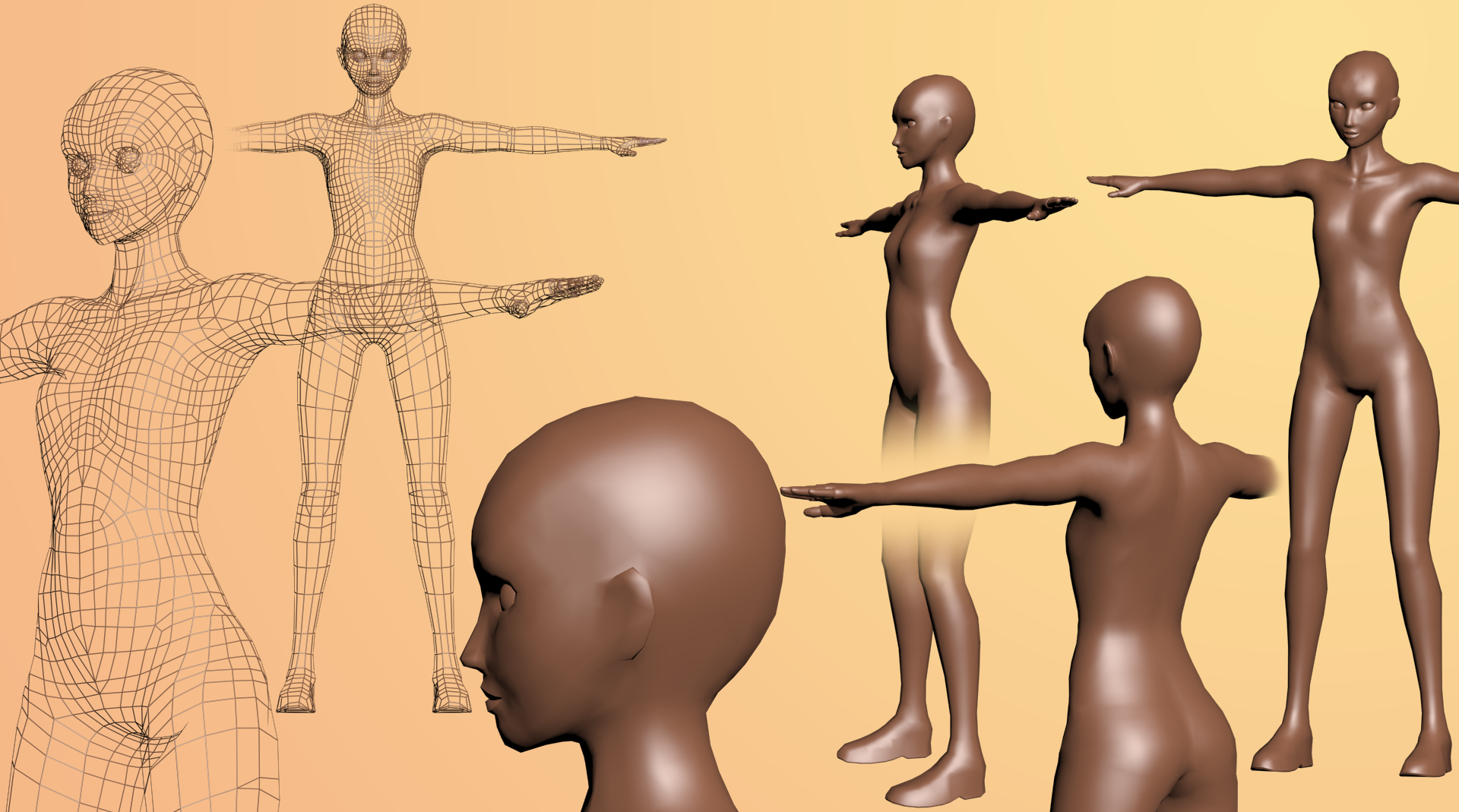 WIP Full body female mesh (free FBX, OBJ download) by archon357 on ...