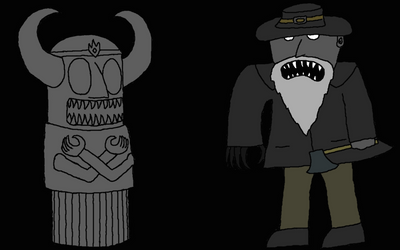 Old Man and Soul Statue (Slender Fortress OC)