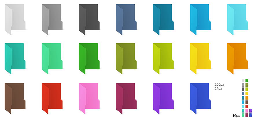 Windows 10 coloured folder icons