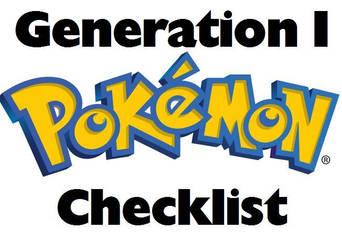 Pokemon PRINTABLE Checklist Generation I