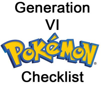 Pokemon PRINTABLE Checklist Generation VI
