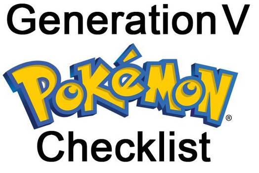 Pokemon PRINTABLE Checklist Generation V