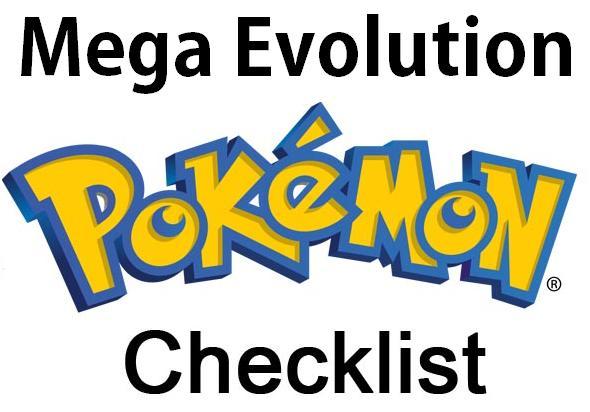 Pokemon PRINTABLE Mega Evolution Checklist