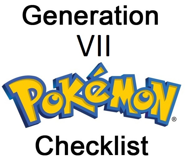 PRINTABLE Pokemon Checklist Generation VII by firesquiiids