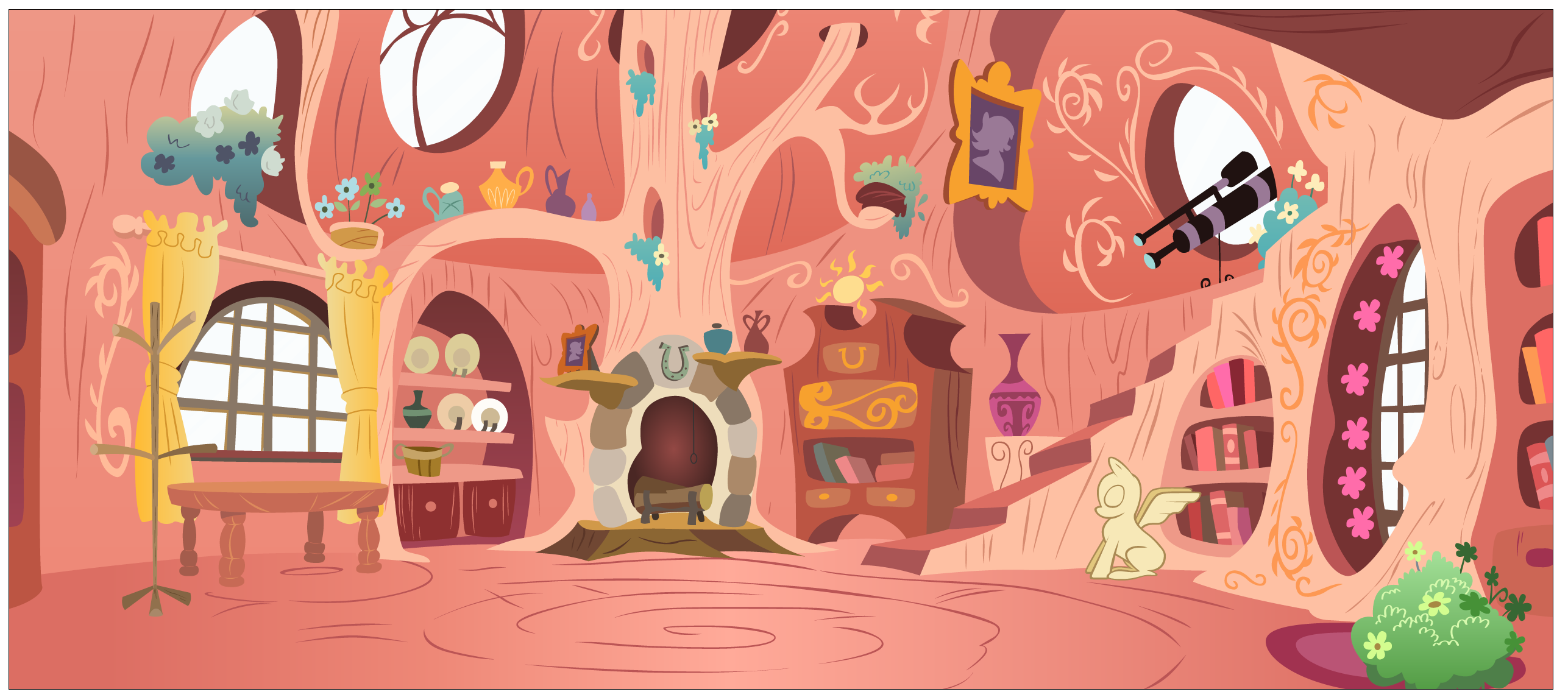 Library interior vector by Stinkehund