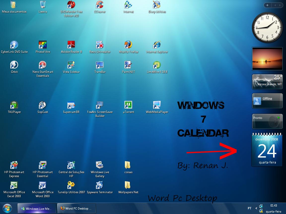 Desktop Calendar 7 : Windows world clock gadget auto design tech