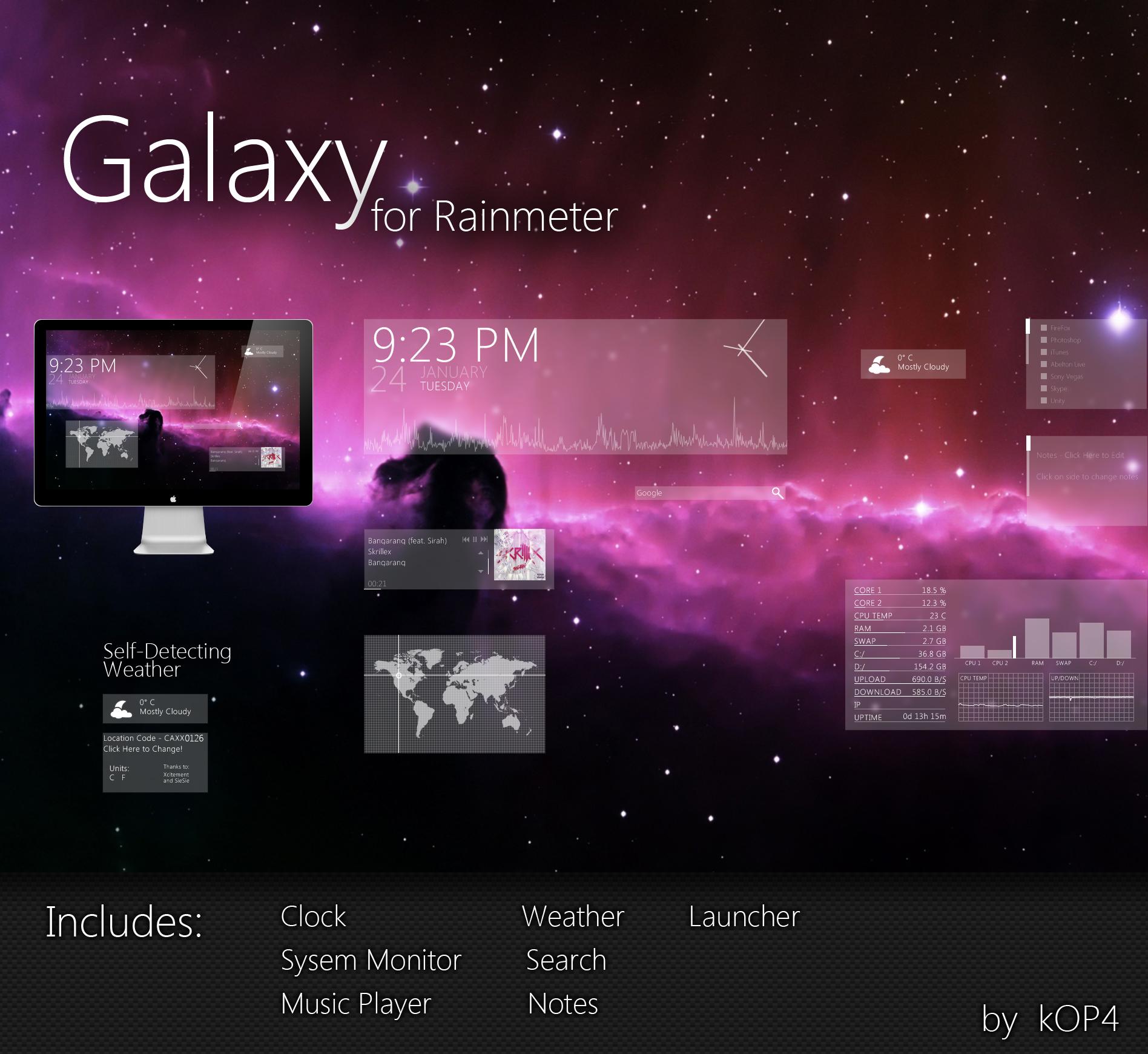 Galaxy Suite Rainmeter by kop4