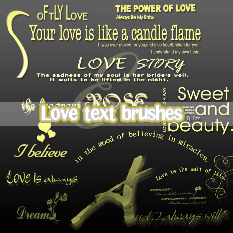 Love Text Brushes by Flina-Stock
