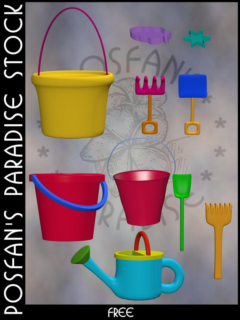 Beach Toys 003 Bucket + Tools by poserfan-stock