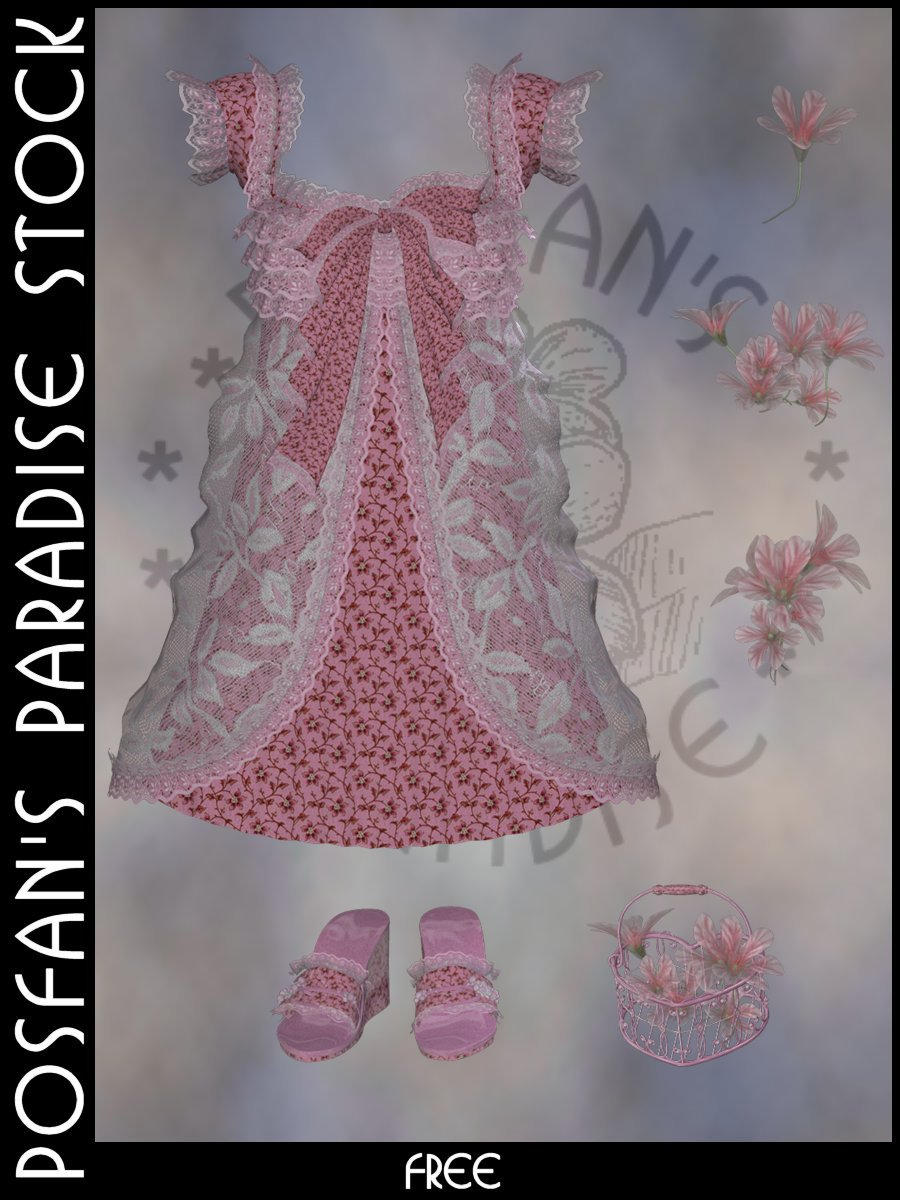 Spring Dress 003 with Accessories by poserfan-stock