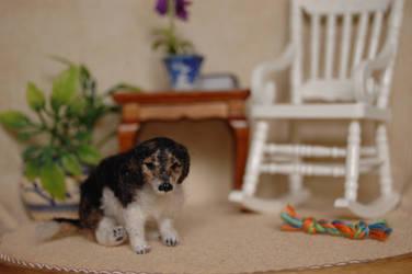Dollhouse 1/12 scale miniature felted beagle dog