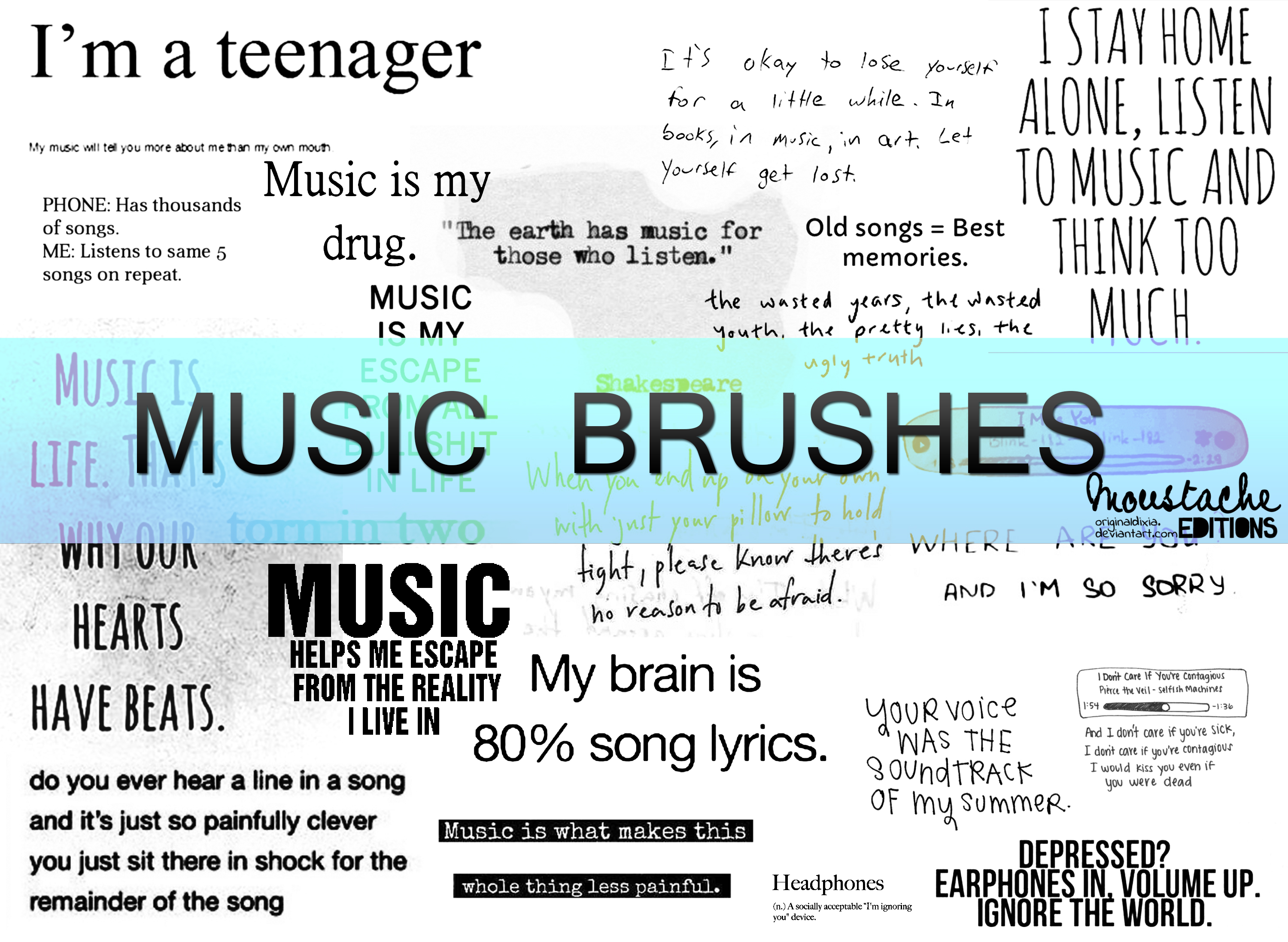 MUSIC TEXT BRUSHES