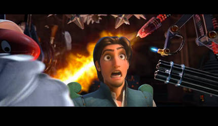 Flynn Rider captured by Megamind by Lililou33