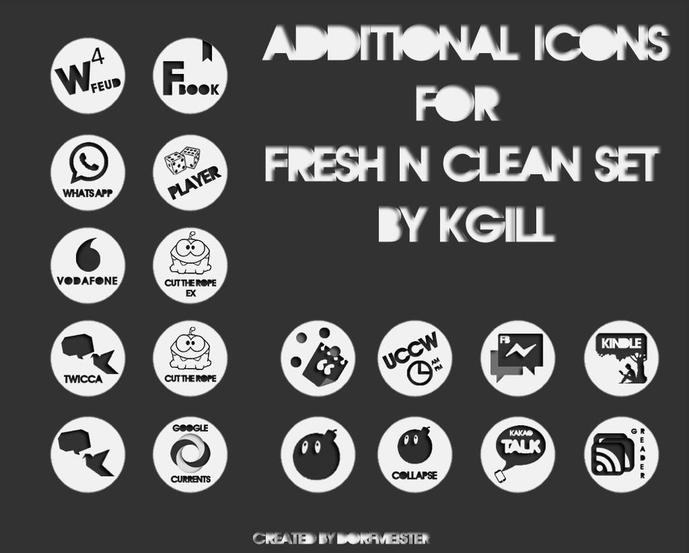 Add-On Icon Set for Kgills FRESH'N'CLEAN Icon-Pack by Dorfmeist3r