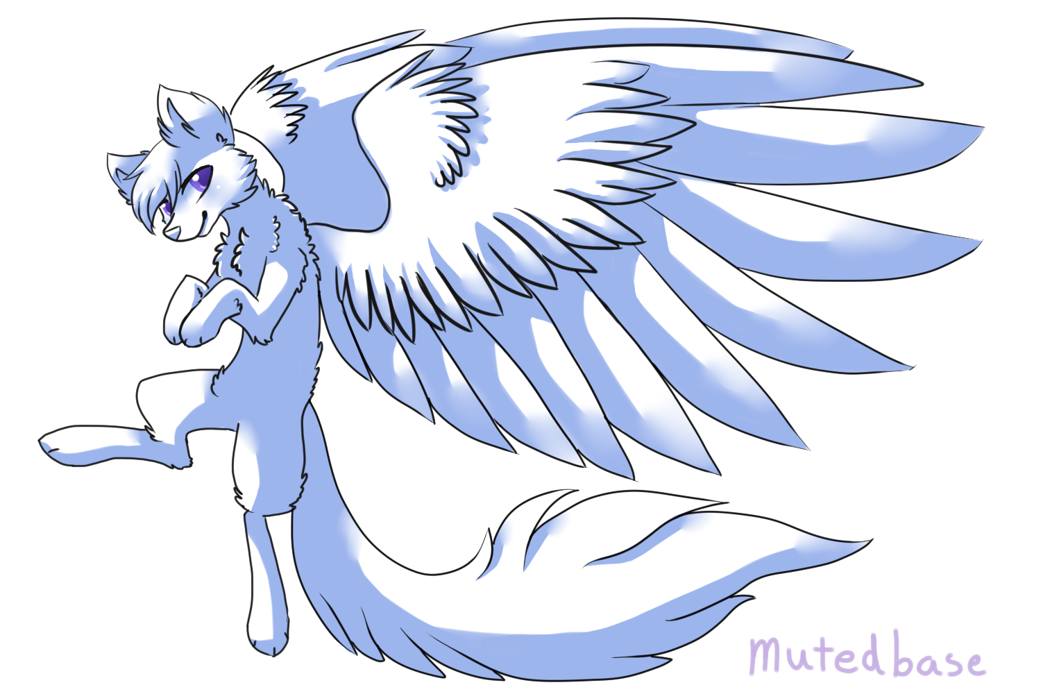 Anime Cat With Wings f2u winged wolf basemutedbase on deviantart