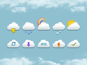 Clouds Set icons PSD