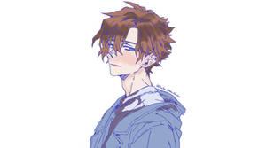 Shy Anime boy drawing