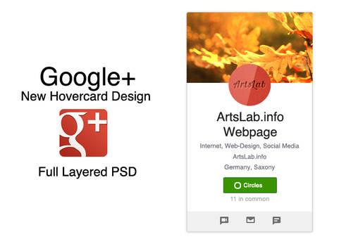 Google+ New Hovercard Design PSD