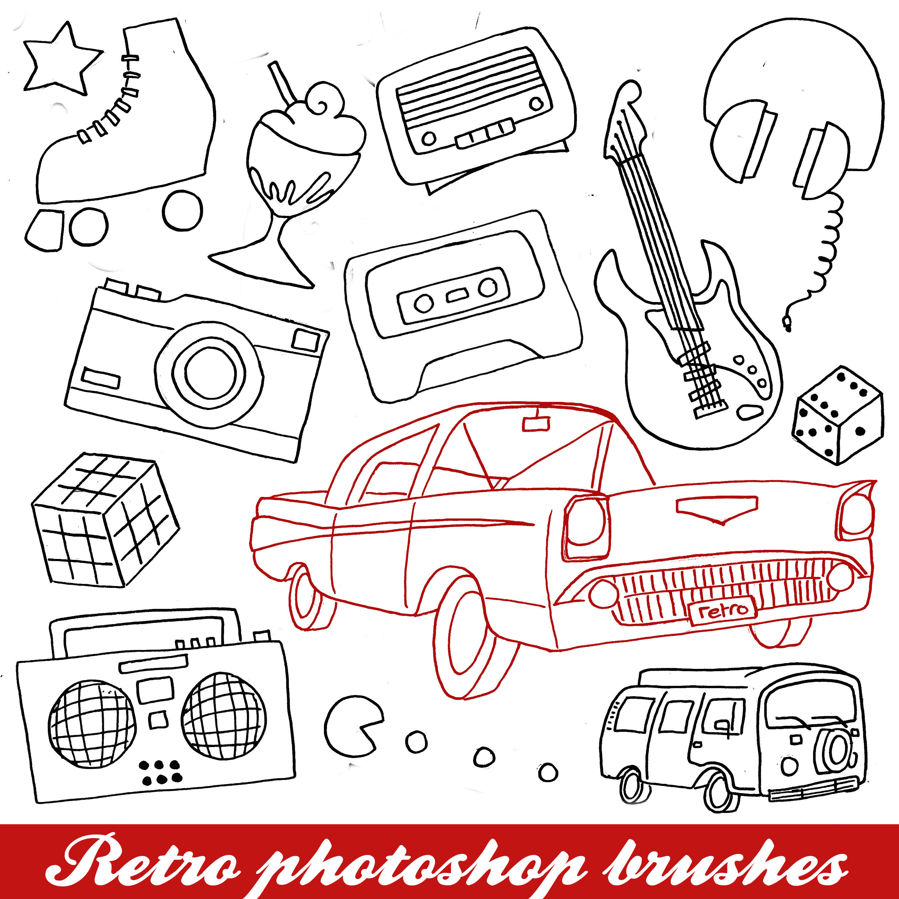 Retro lineart brushes by Angelic14