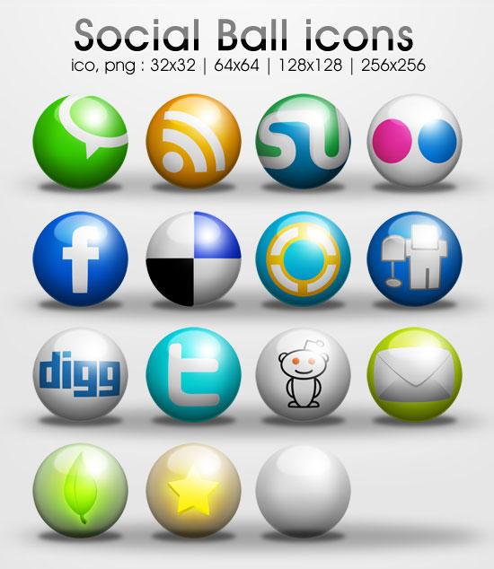 freebie: Ball social icons by yahya12