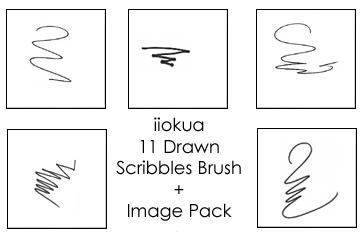 11 Drawn Scribble Brushes by iiokua