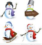 North Pole and Snowmen Premium Vectors