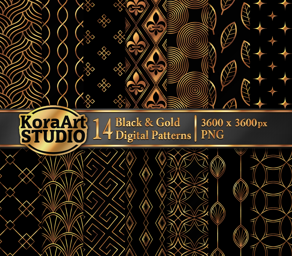 Black and Gold Pattern Pack