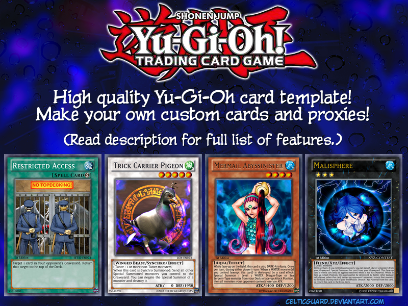 graphic regarding Printable Yugioh Card named Yu-Gi-Oh! Card Template High definition [clean design and style] v1.1 as a result of CelticGuard