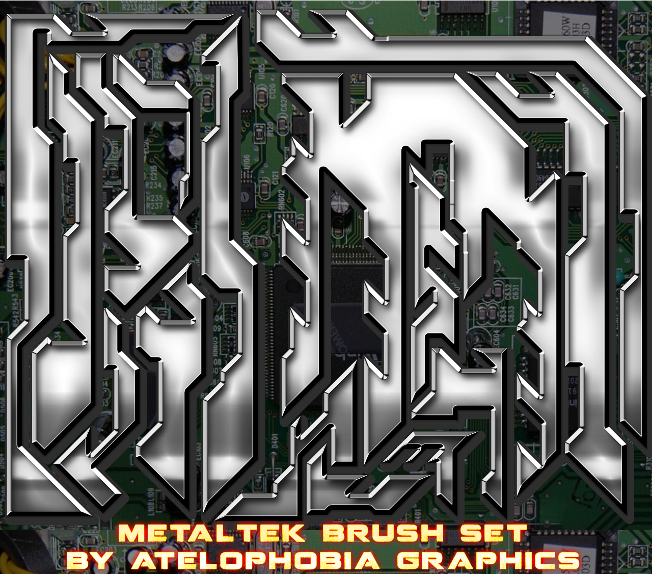METALTEK PHOTOSHOP BRUSHES [FREE] by Atelophobia-Graphics