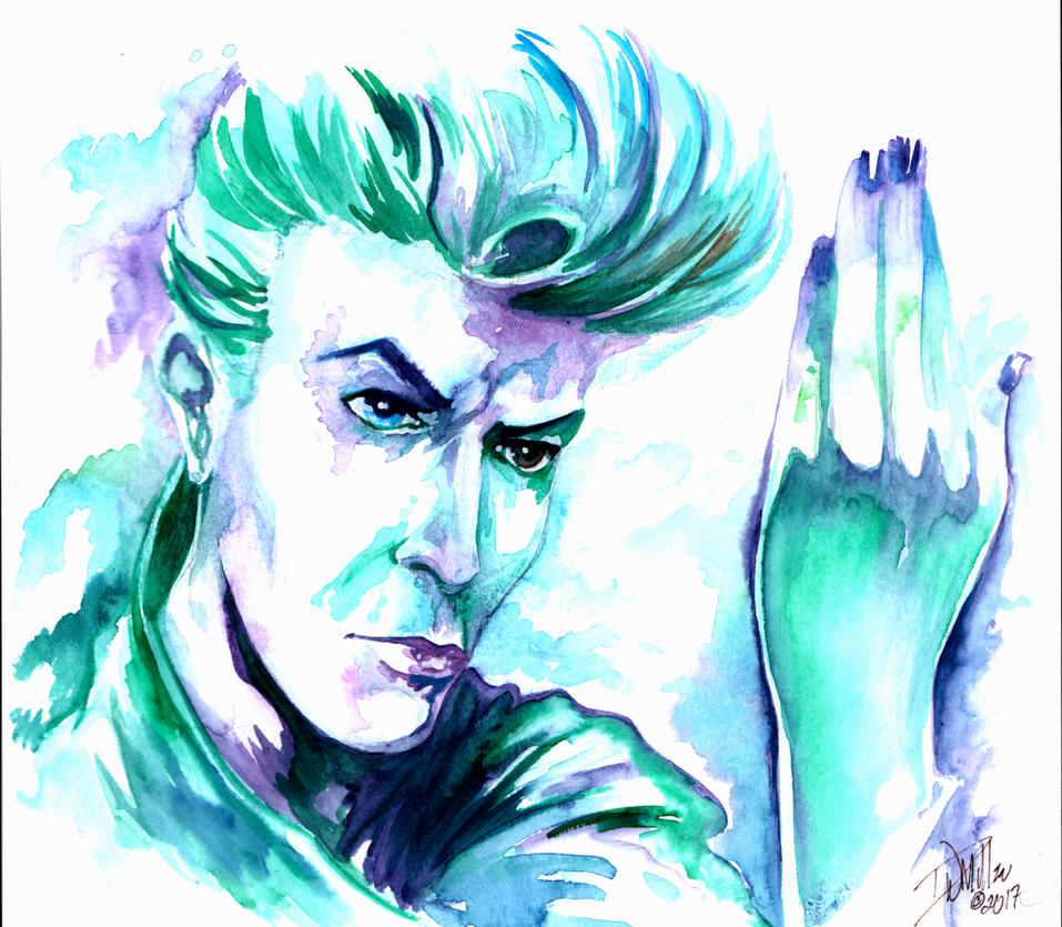 David Bowie Original Watercolor By DW Miller by ConceptsByMiller