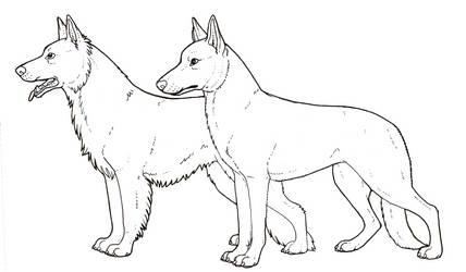German shepherd dog colouring page