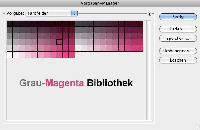 Magenta und Grautöne Photoshop Farbfelder