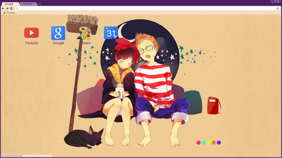 Cute Sleeping Kiki and Tombo Chrome Theme by Cc-SakuraAvalon-cC