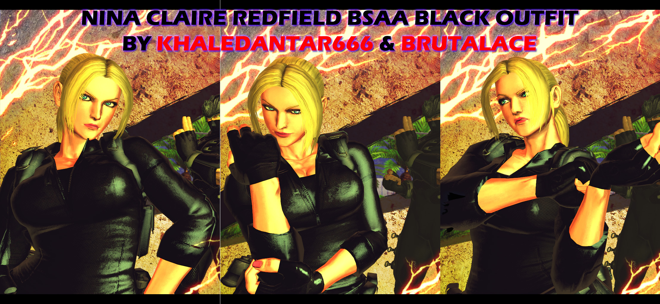 Nina Claire Redfield BSAA Black Outfit by BrutalAce