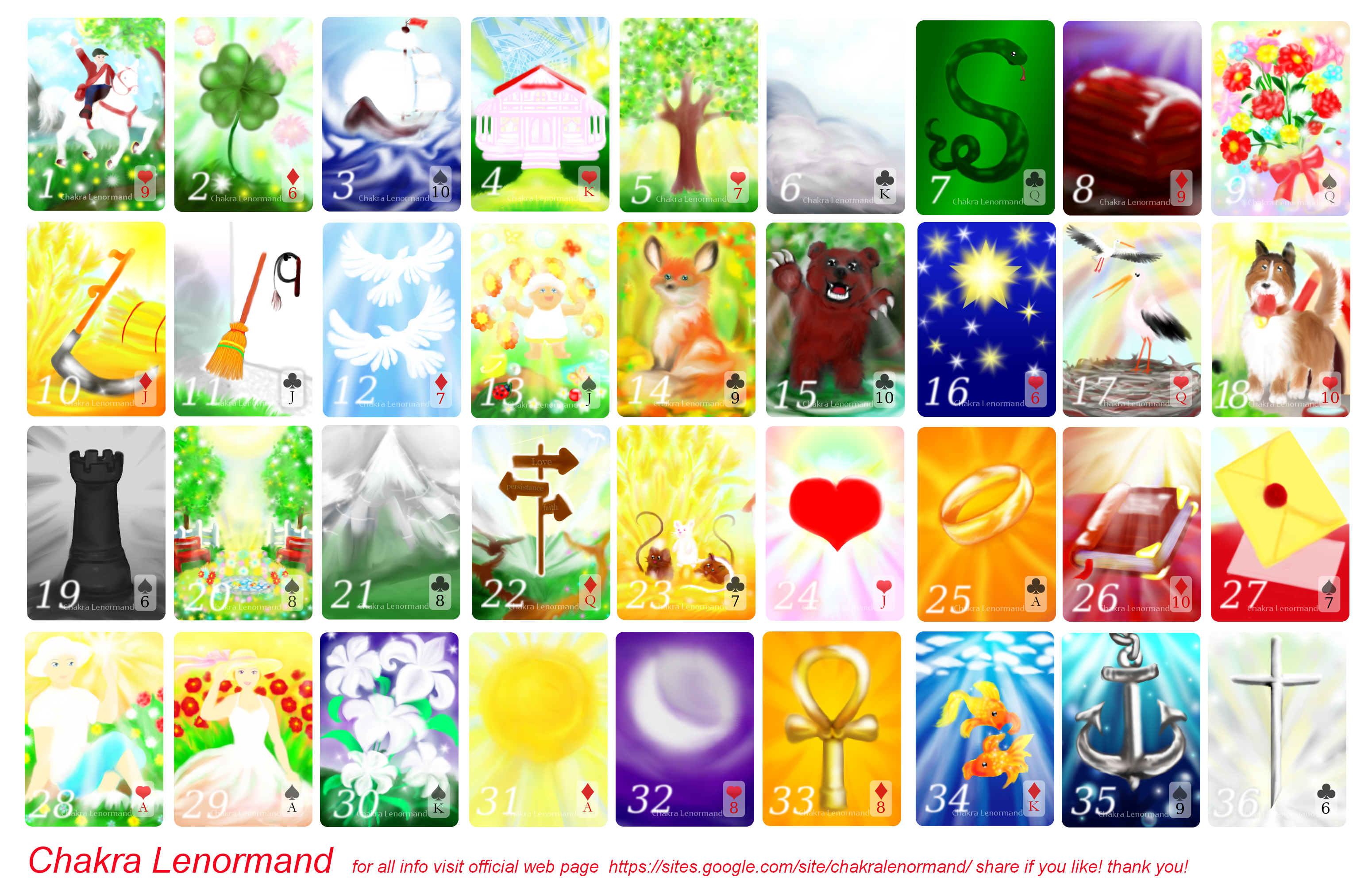 Chakra Lenormand Oracle Meditation and Spell deck by artReall