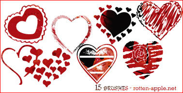 Heart brushes by B-W-B-W