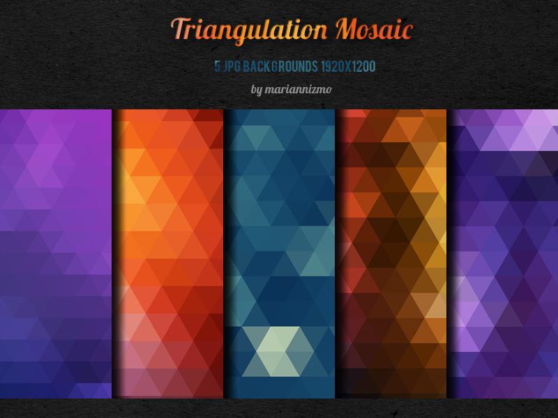 FREE!!! 5 Triangulation Mosaic backgrounds by mariannizmo