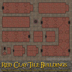Red Clay Tile Buildings - For RPG Battlemaps
