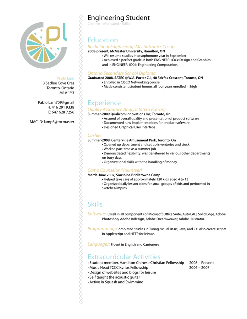 Resume : Software Engineer By P3nsuk33 ...  Software On Resume
