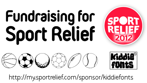SPORT RELIEF font by Kiddiefonts