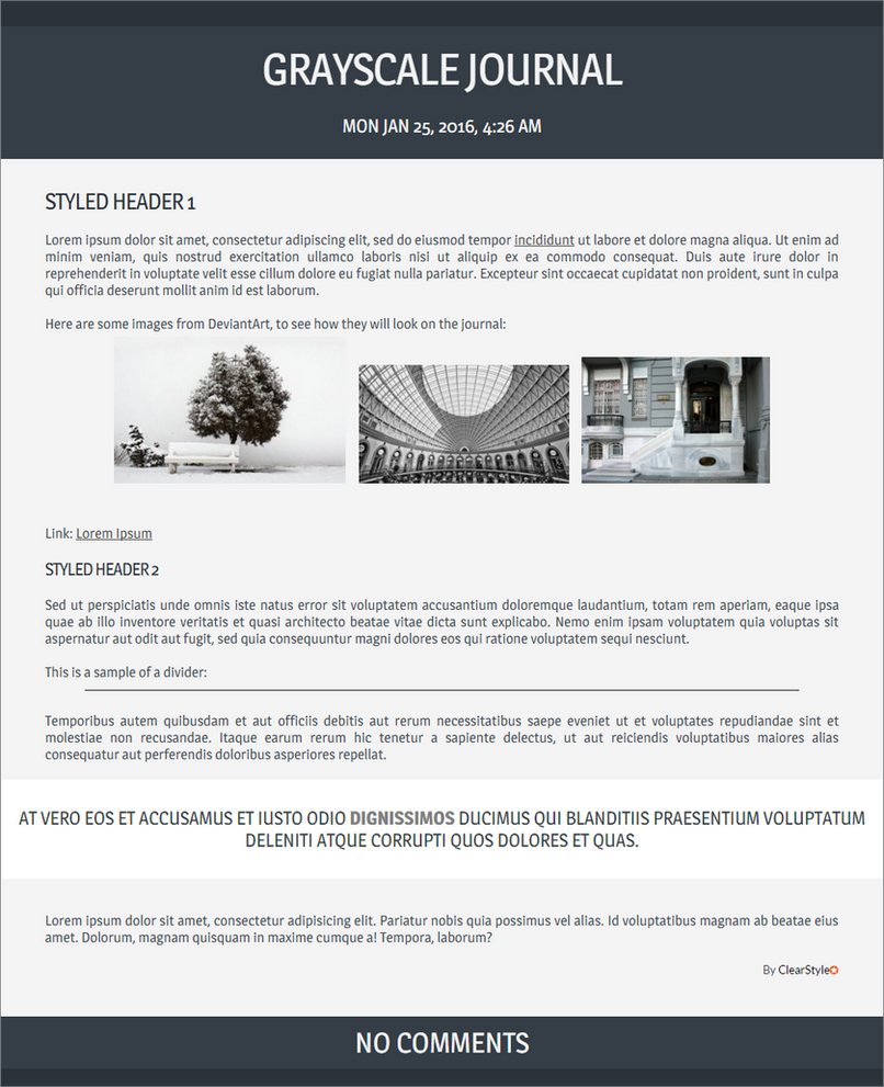 Grayscale ~ Free Journal Skin by ClearStyle