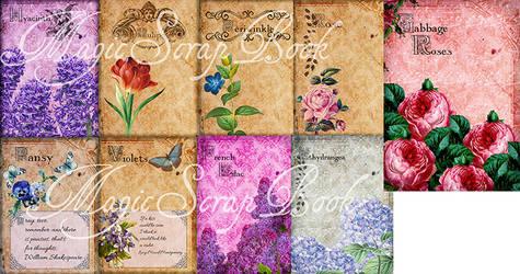 9 Paper Flowers Vintage By Magic Scrapbook
